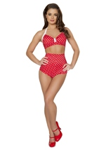 Adult Red And White Polka Dot High Waisted Short
