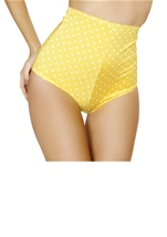 Yellow And White Polka Dot High Waisted Short