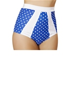 Adult Blue And White Polka Dot High Waisted Short