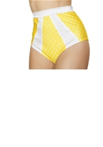 Adult Yellow And White Polka Dot High Waisted Short
