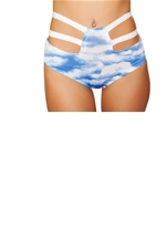Adult High Waisted Strapped Shorts Clouds