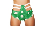 High Waisted Strapped Shorts Grass