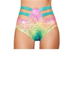 High Waisted Strapped Shorts Multi Laser Hologram