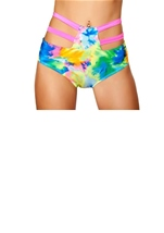 High Waisted Strapped Shorts Tie Dye