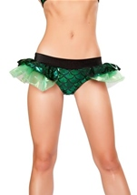 Mermaid Shorts with Attached Iridescent Skirt Green Woman Costume