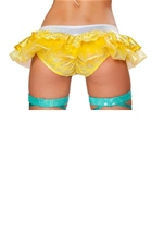 Mermaid Shorts with Attached Iridescent Skirt Yellow Woman Halloween Costume