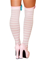 Lady Laughter Pink And White Stockings