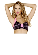 Pin Up Halter Black And Pink Women Top
