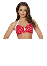 Sexy Pin Up Halter Red And White Women Top