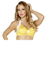 Sexy Pin Up Halter Yellow And White Women Top