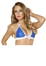 Adult Blue And White Polka Dot Halter Top