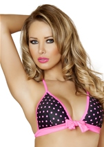 Black And Pink Polka Dot Halter Top