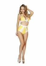 Yellow And White Polka Dot Halter Top