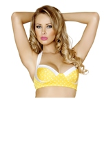 Pin up Style Yellow And White Halter Top
