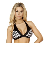 Houndstooth Two Tone Halter Women Top