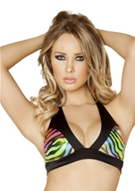Rainbow Zebra Two Tone Halter Women Top
