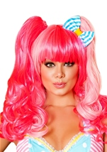 Adult Pink Women Candy Wig With Bow