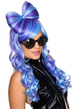 Blue And Purple  Women Wig with Bow