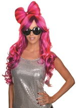 Violet And Pink Women Wig with Bow
