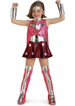 Wonder Woman Girl Pink Super Hero Costume