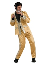 Men Elvis Deluxe Gold Satin Costume