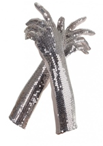 Silver Sequin Gloves Adult