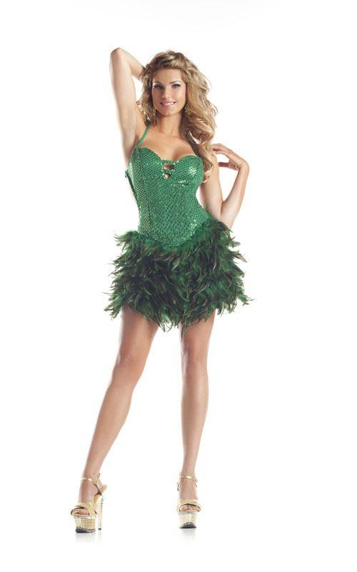 green sequin feather women halloween costume - Green Halloween Dress