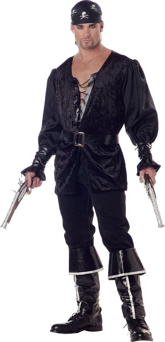 Adult Black Heart The Pirate Men Costume 3799