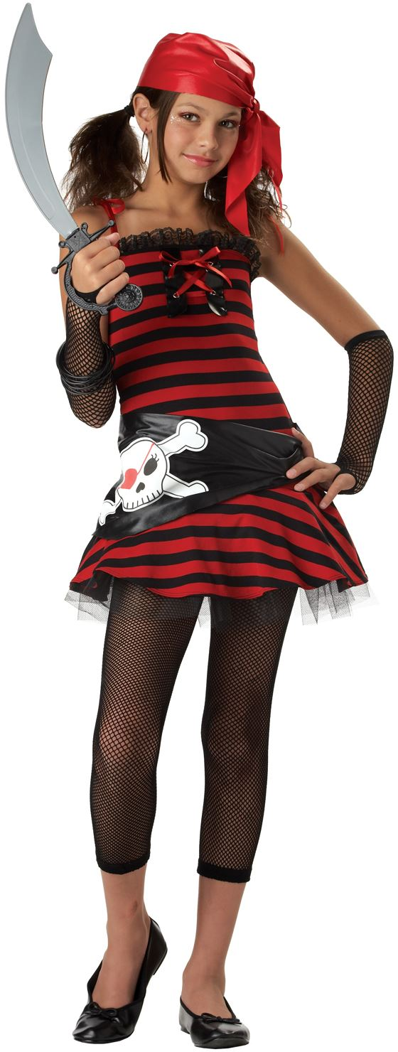 Check out this Pirate Cutie Girls Tween Halloween Costume which comes with a dress with lace trim skull hip wrap bandana netted leggings and glovelettes.  sc 1 st  Halloween Costumes - The Costume Land & Pirate Costumes: Sailing the Seven Seas One Costume at a Time ...