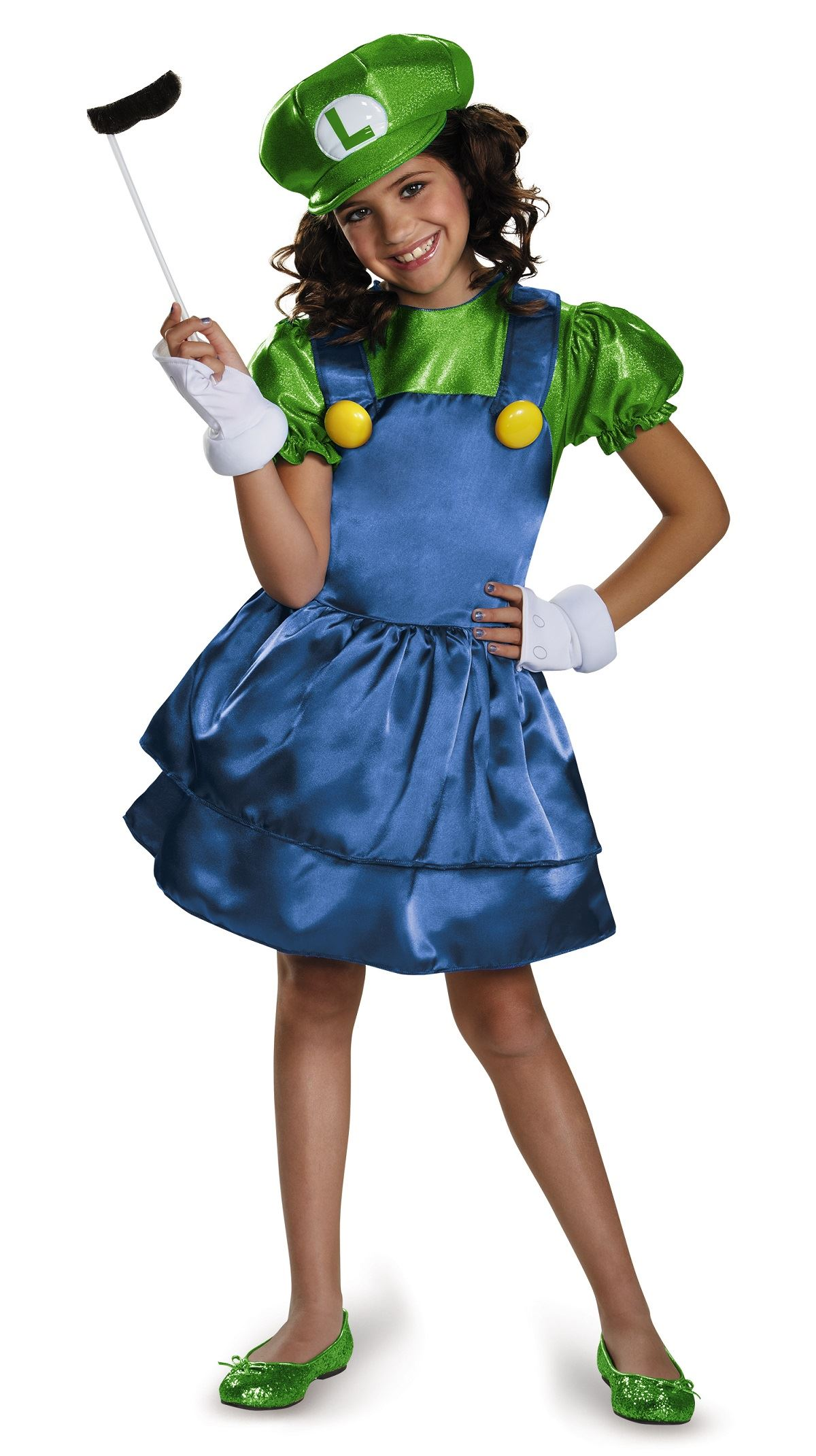 kids luigi girls super mario costume | $39.99 | the costume land