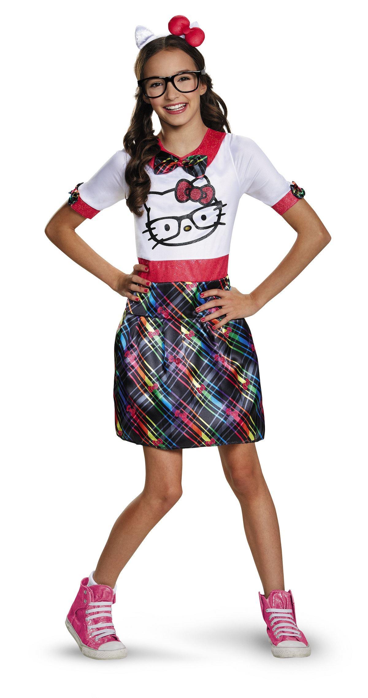 kids hello kitty nerd girls tween costume