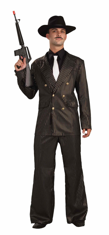 adult 20s gangster gold stripe men costume the. Black Bedroom Furniture Sets. Home Design Ideas