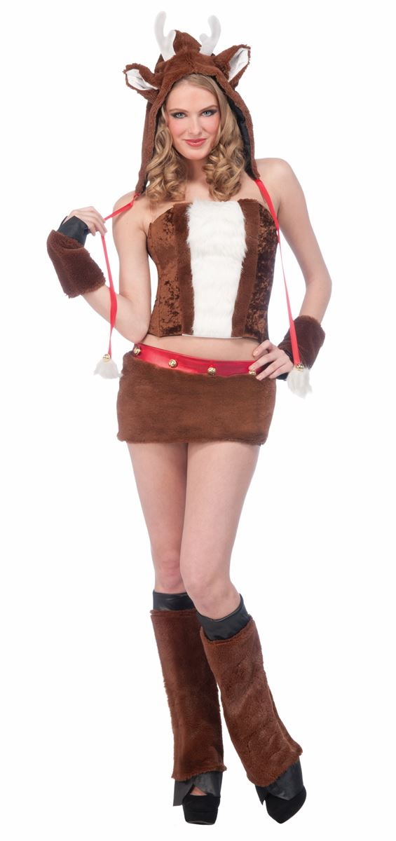 Adult Reindeer Furry Hood Woman Costume  sc 1 st  The Costume Land : womens reindeer costume  - Germanpascual.Com