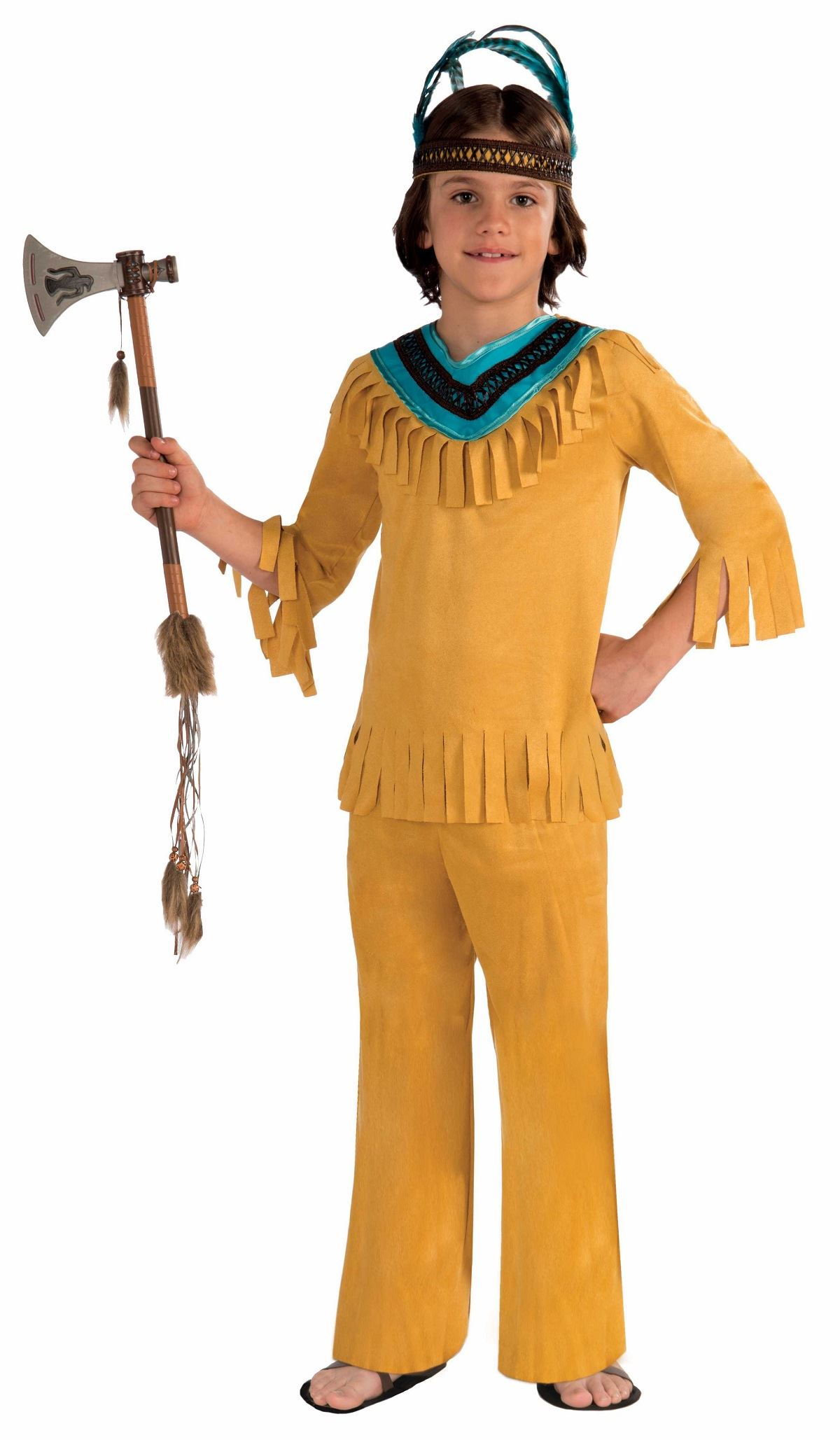 Kids Native American Brave Warrior Boy Costume  sc 1 st  The Costume Land : native american costume for boys  - Germanpascual.Com
