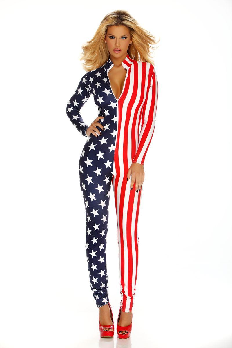 Adult Flag Zipfront Women Bodysuit  569a4248c