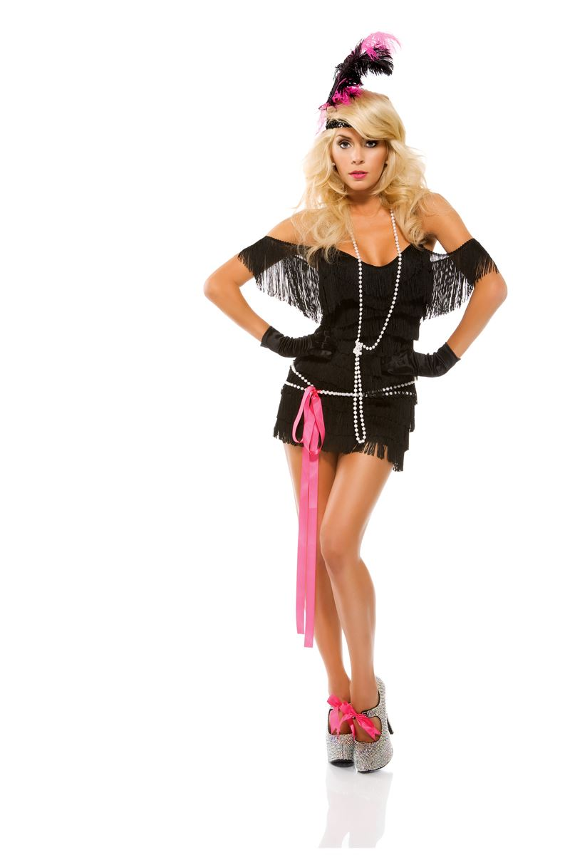adult foxy fringe women flapper costume