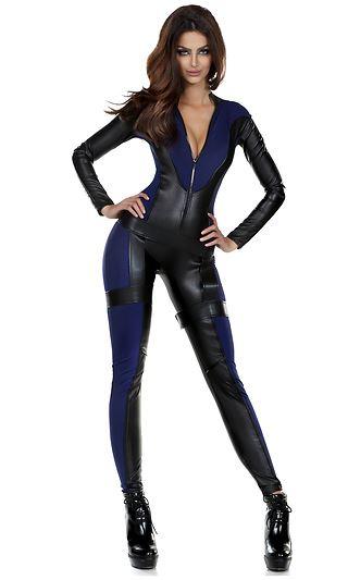 adult black bodysuit woman super hero costume
