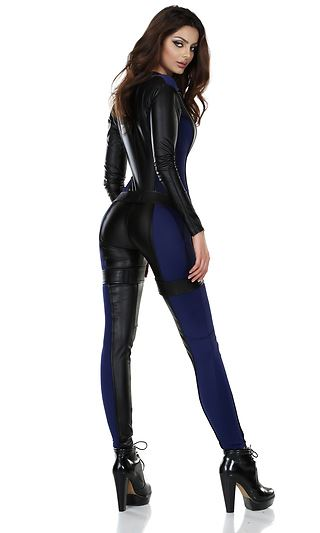 Adult Black Bodysuit Woman Super Hero Costume  $75.99  The Costume Land