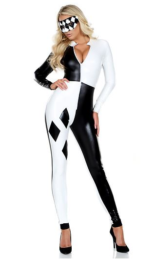 adult jester woman checkered bodysuit costume