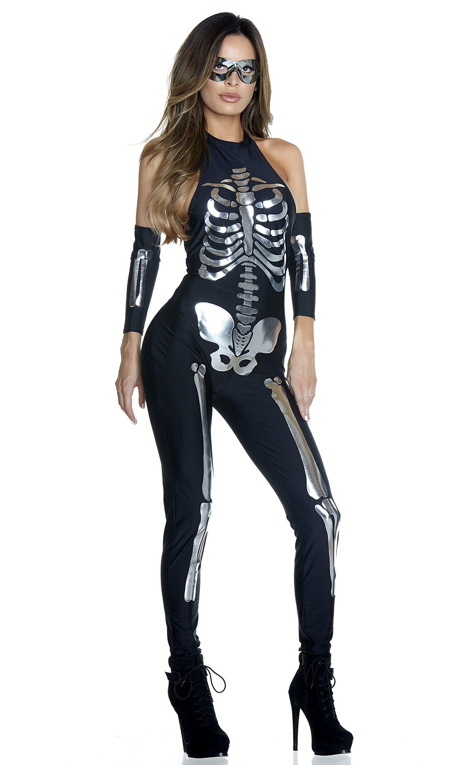 Skeleton Outfit Halloween.Adult Opulent Outline Skeleton Women Costume