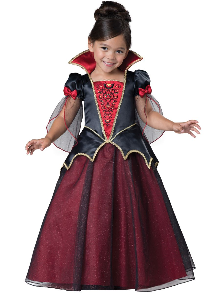 vampiress toddler girls deluxe halloween costume includes deluxe quality satin dress with glitter tulle sleeves and skirt overlay embroidered bodice