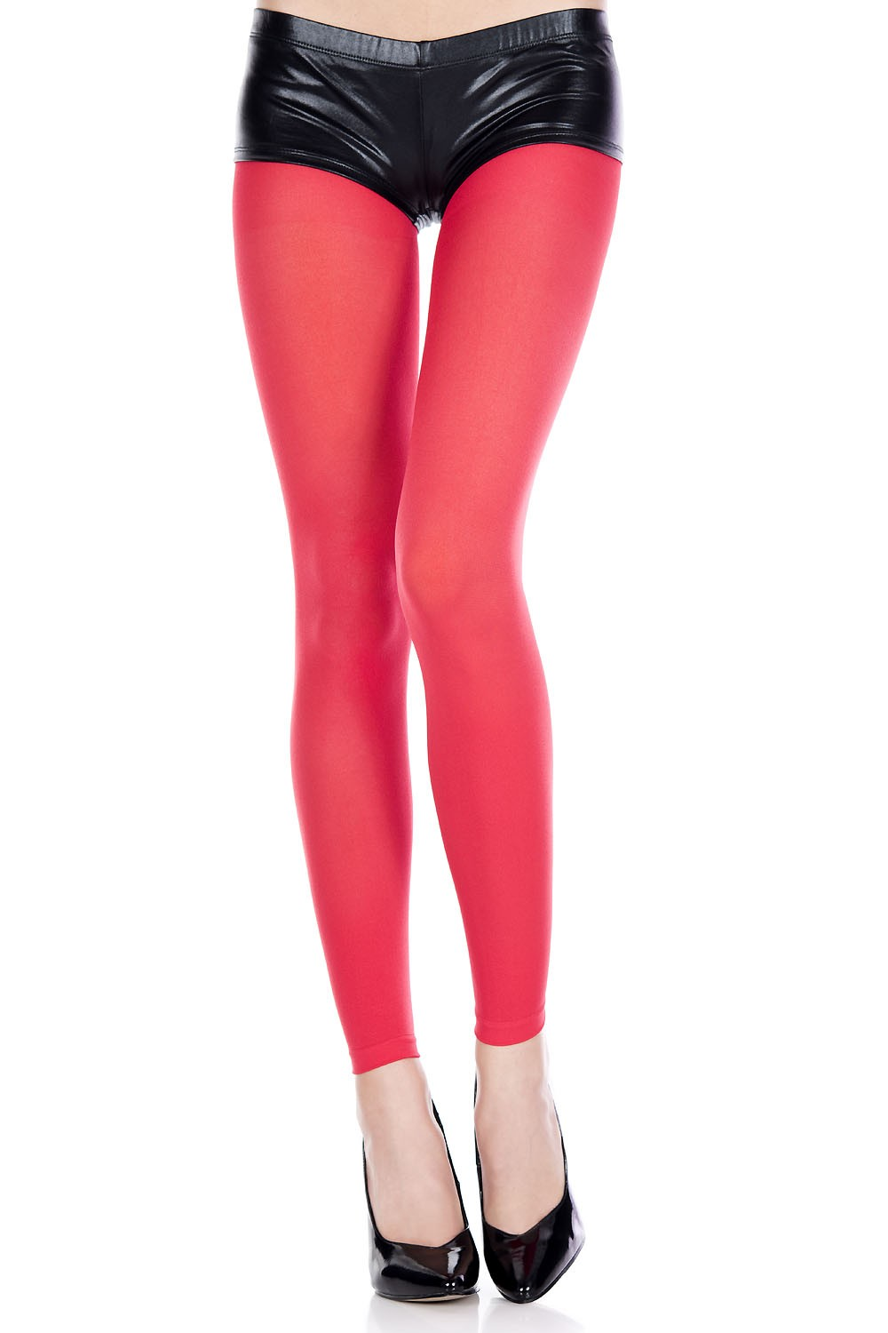 adult opaque footless tights red