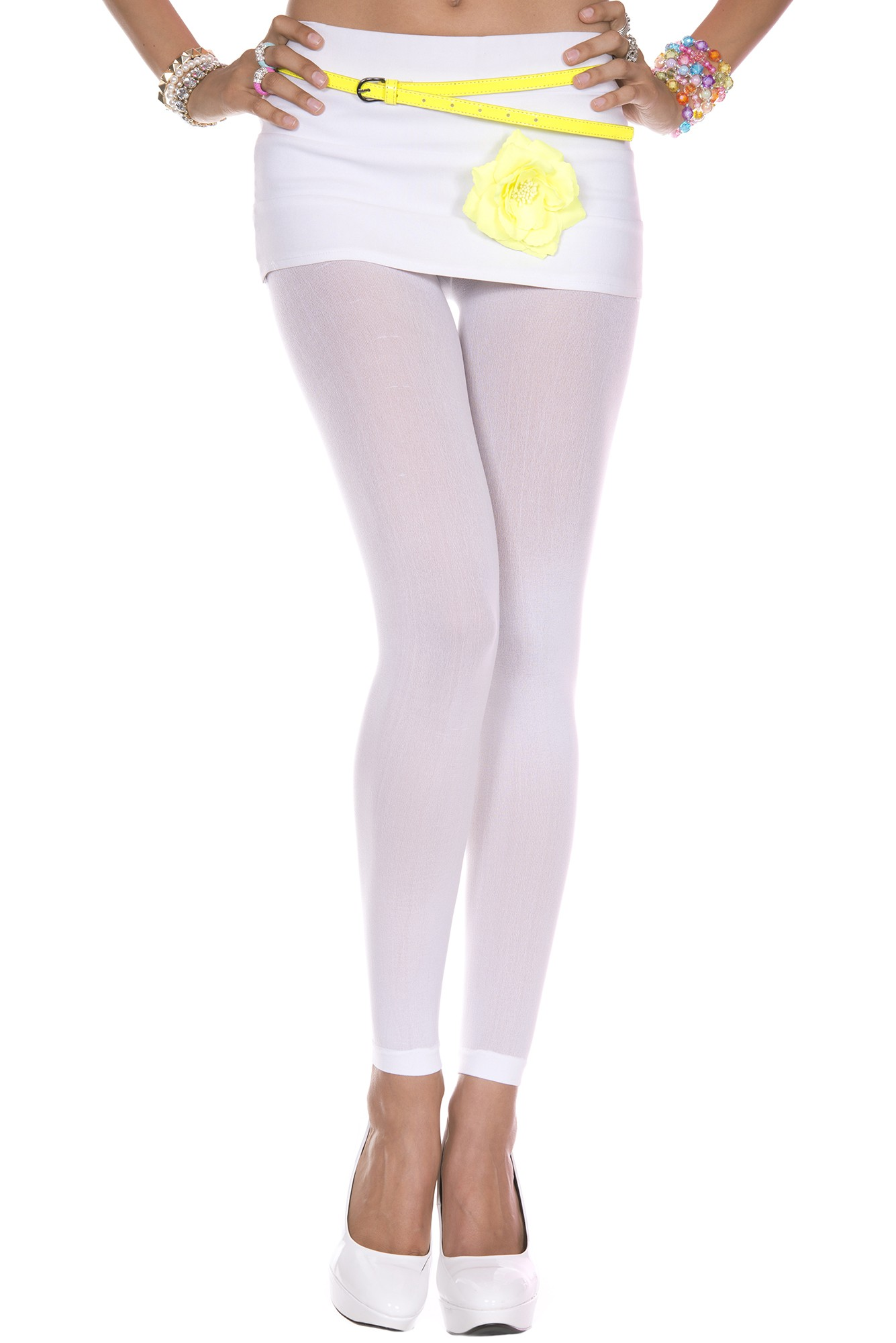 e085194a4a93b4 ... Adult Opaque Footless Tights White. Click here to view Large Image