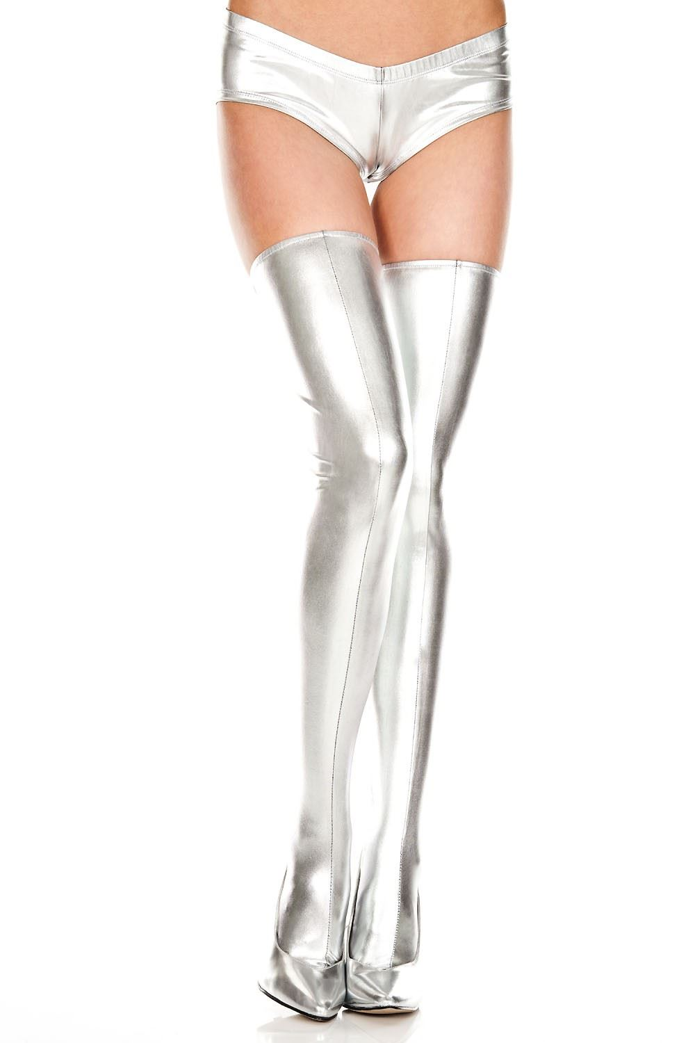 8731b76bd2a Adult Wet Look Thigh High Silver ...