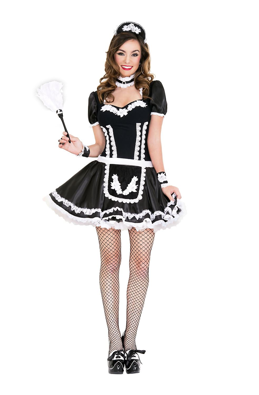 Adult Flowery Lacy French Maid Woman Costume | $47.54 ...