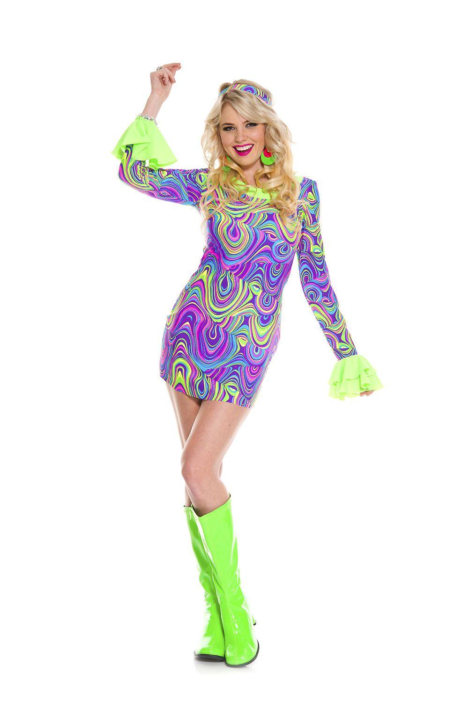 Hippie Girl Halloween Costume.Adult Psychedelic Hippie Chick Woman Costume