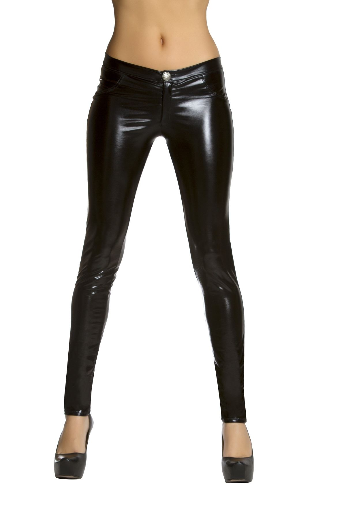 Black Metallic Button Front Pants with Pocket Detail | $33.99 ...