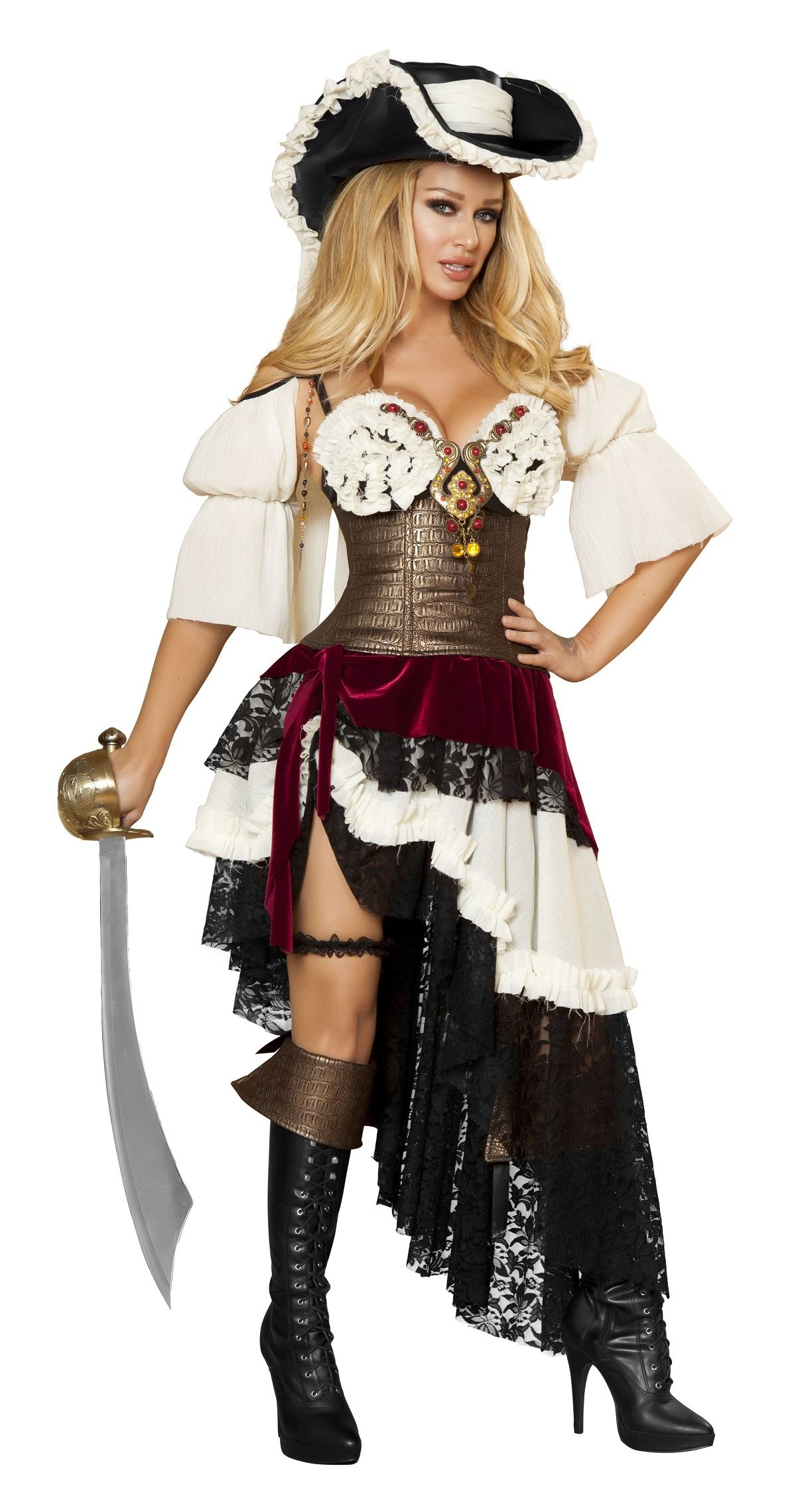 Adult sexy pirateer women costume the costume land for Diy halloween costumes for adult women