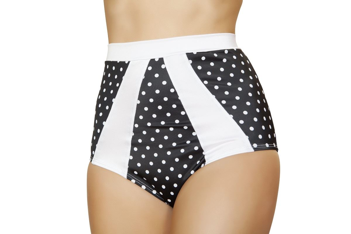 Adult Black And White Polka Dot High Waisted Short