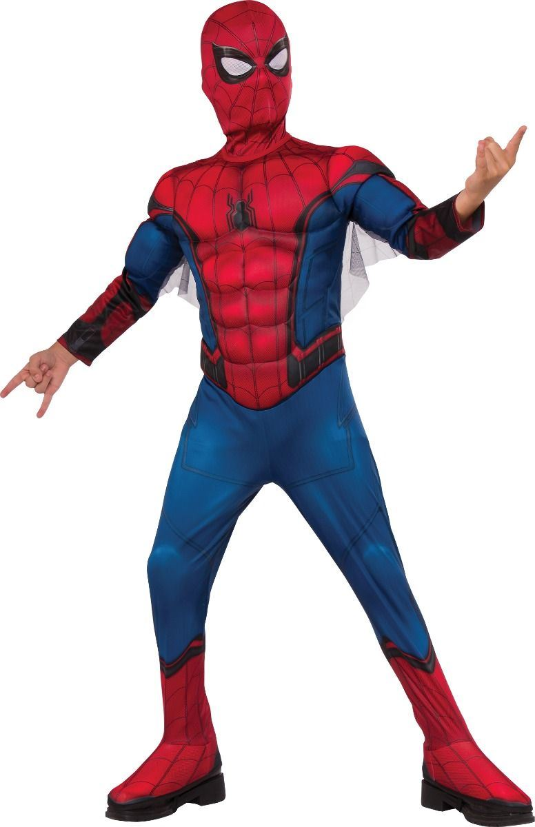 Boys Deluxe Spiderman Homecoming Costume Superhero Fancy Dress Child Kids Outfit